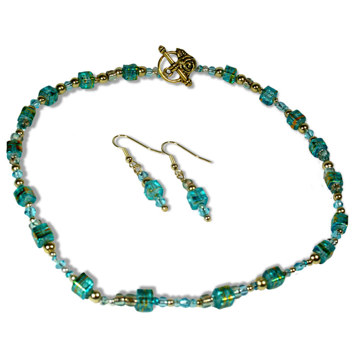 Choker with Earrings Necklace Set Turquoise by CMS Jewellery