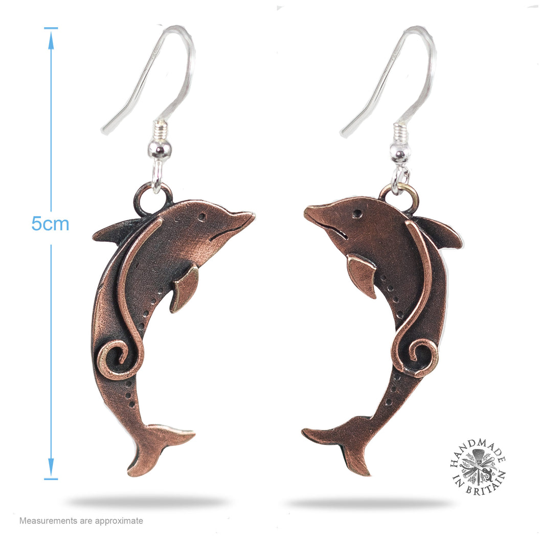 Copper Dolphin Drop Earrings