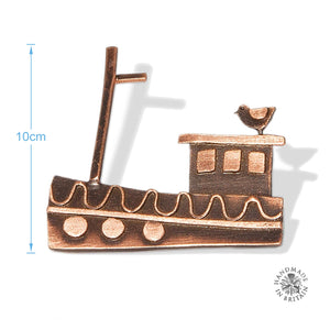 Copper Fishing Boat Brooch