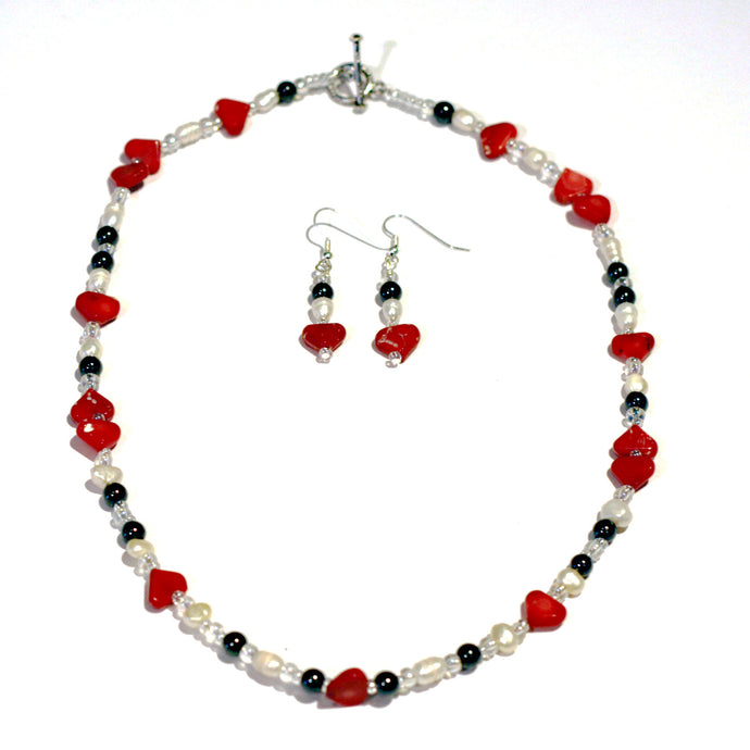 Coral Heart Necklace and Earrings set by CMS Jewellery