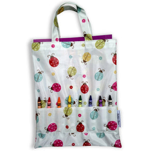 Crayon Bags -ladybird design - bag with crayons and colouring book