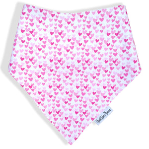 Dribble Bibs - Hearts - 100% cotton front and fleece backing