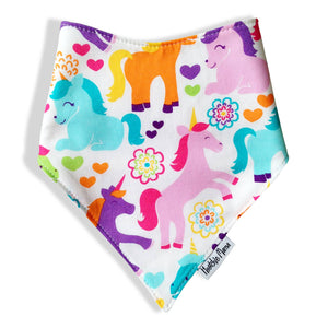 Dribble Bibs - White Unicorn  - 100% cotton front and fleece backing
