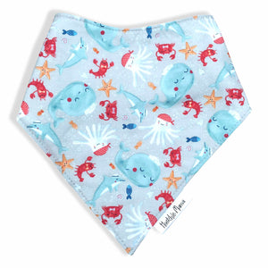 Dribble Bibs - Under the Sea design - 100% cotton front and fleece backing