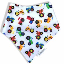 Dribble Bibs -Tractor design  - 100% cotton front and fleece backing