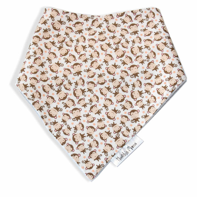 Dribble Bibs -Beige Monkey design  - 100% cotton front and fleece backing