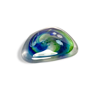 Green Blue Glass Salsa Pebble Paperweight by Martin Andrews