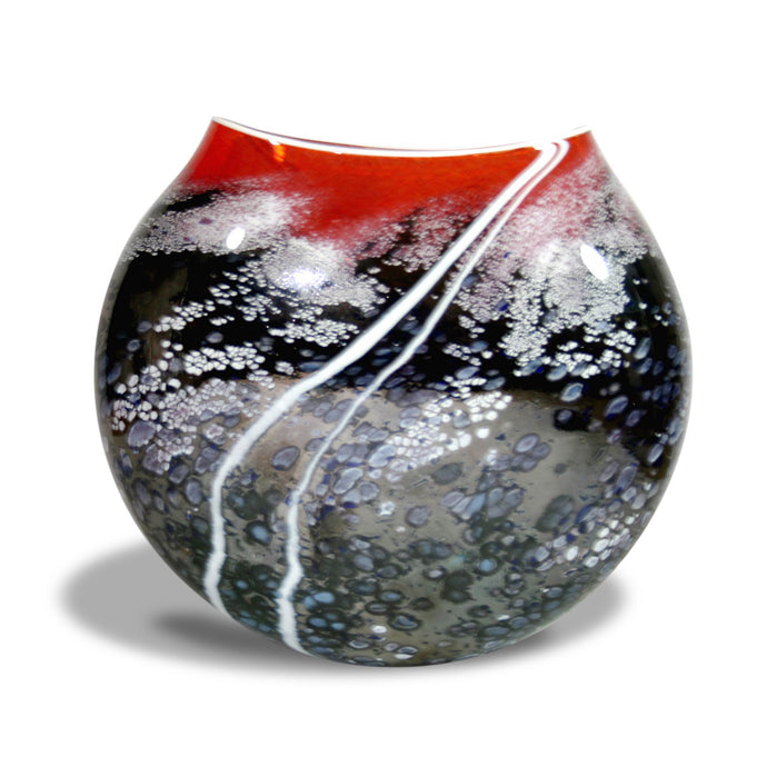 Glass Sunset Red Large Flat Vase by Martin Andrews