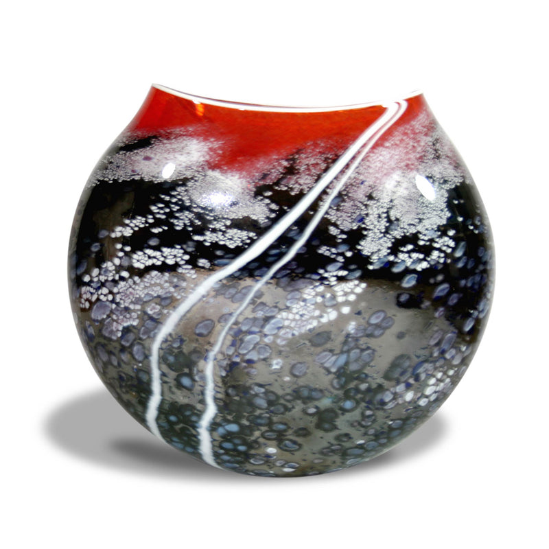 Glass Sunset Red Large Flat Vase Wow Gallery Gifts