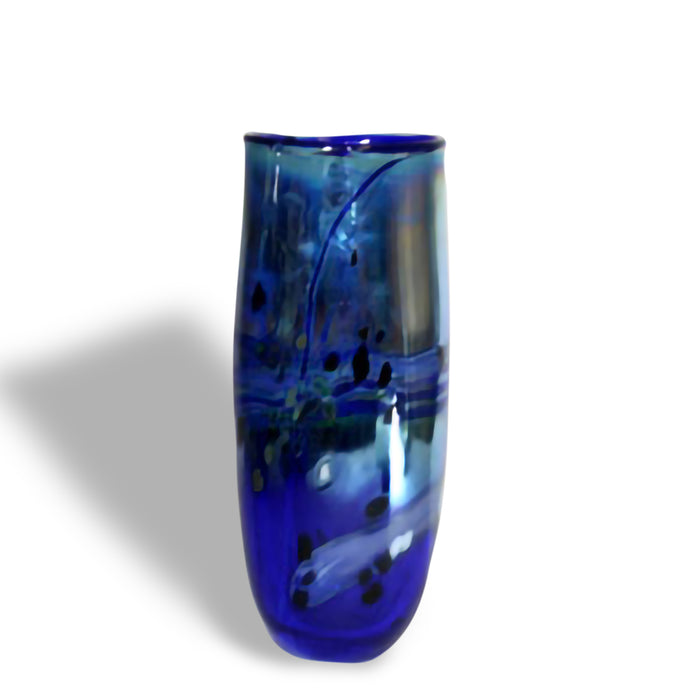 Glass Vase Medium Lustre Rocks Blue by Shakspeare Glass