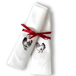 Mr & Mrs Chicken Large Cotton Napkins (pr)
