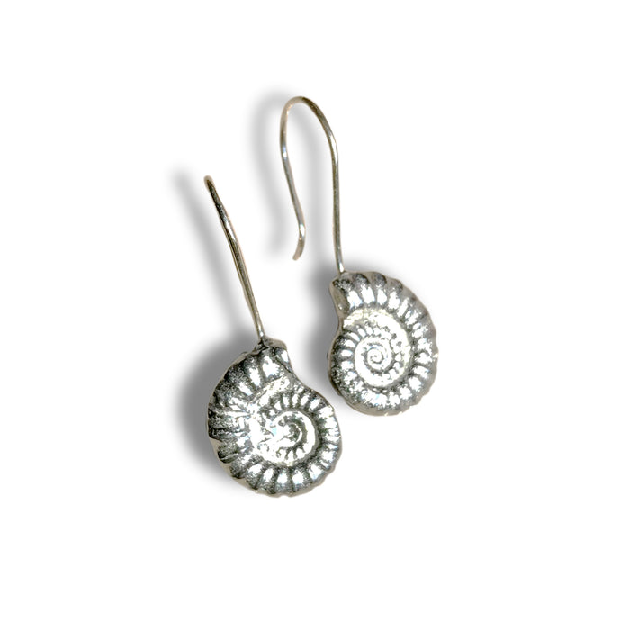 Pewter Ammonite Earrings by Glover & Smith