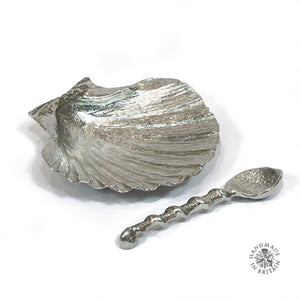 Pewter Scallop Salt and Spoon