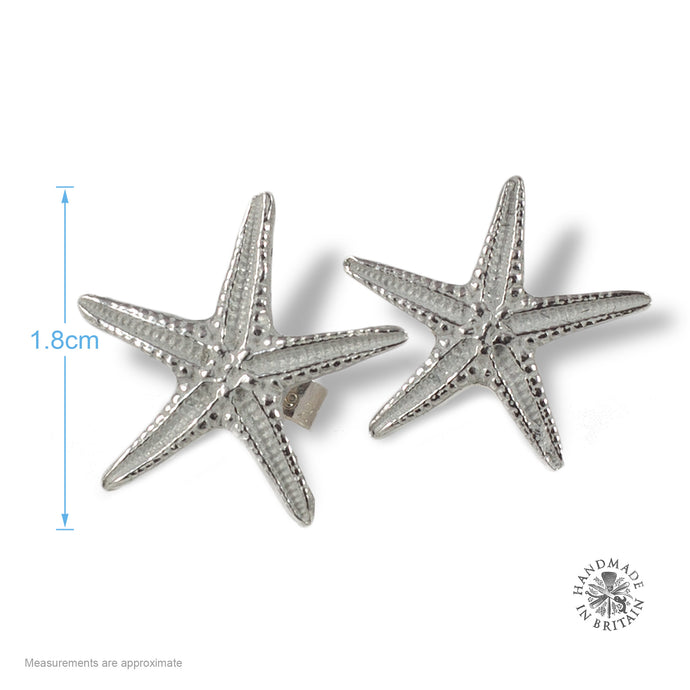 Pewter Starfish Stud Earrings