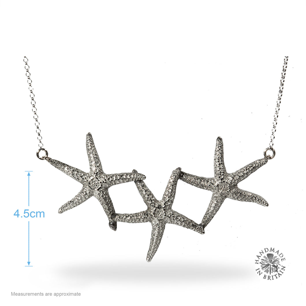 Pewter Triple Starfish Necklace