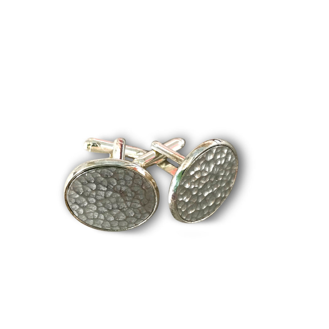 Round Pewter Cufflinks - beaten pewter disc