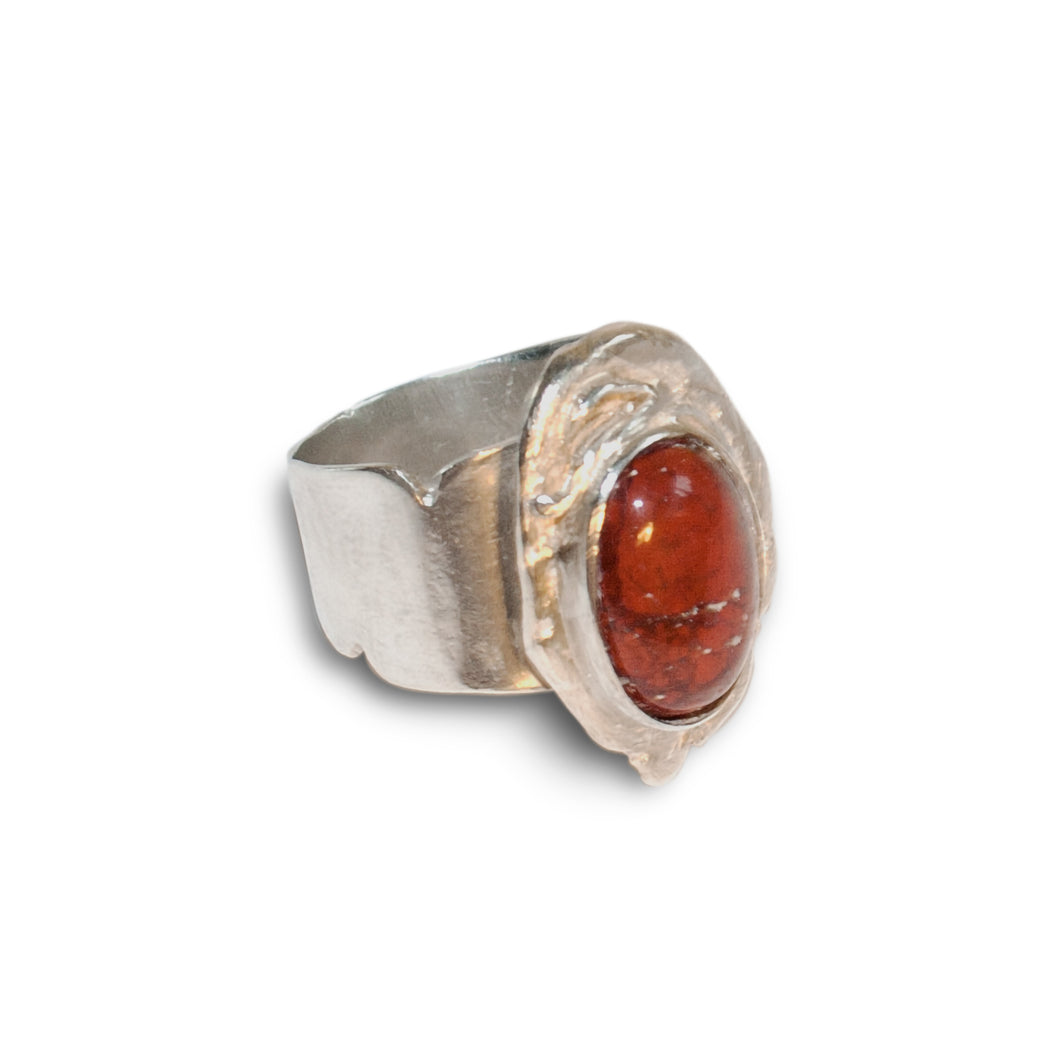 Silver Ring with Jasper Cabochon Motif