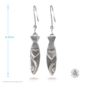 Silver Sardine Earrings