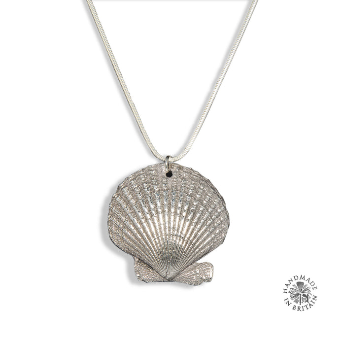 Silvered Scallop Pendant on Silver Chain