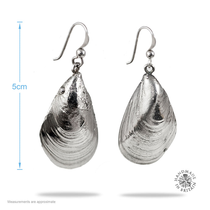 Silvered Watergate Bay Mussel Earrings Medium