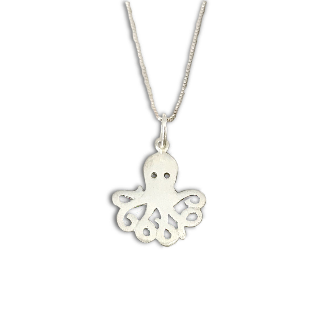 Stylised Octopus Sterling Silver Pendant