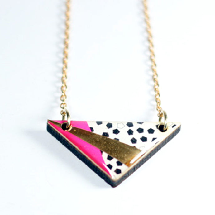 Triangle Necklace Pink by MyBEARHANDS