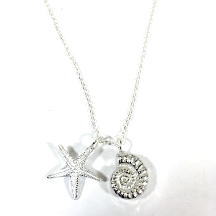 Pewter Twin Charm Pendant on chain by Glover & Smith