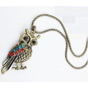 Bronze Colour Rhinestone Owl Pendant Necklace