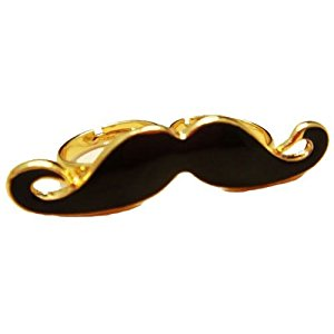 Vintage Retro Black Moustache Two Finger Adjustable Ring