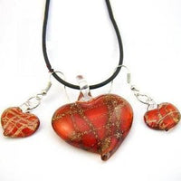 Lampwork Glass Red Heart Necklace And Earrings Set