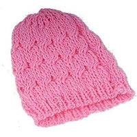 Pink Knitted Beanie Winter Wooly Hat