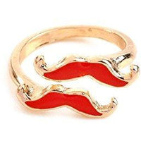 Retro Red Two Moustache Ring