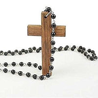 Vintage Wooden Cross & Beads Long Pendant Necklace