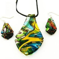 Colourful Lampwork Glass Leaf Necklace And Earrings Set