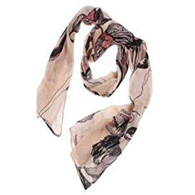Beige Flower Ink Style Long Scarf