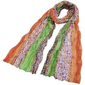 Green And Orange Small Flowers Long Scarf