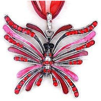 Red Enamel And Rhinestone Butterfly Pendant Necklace