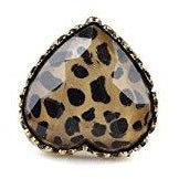 Vintage Retro Heart Shape Leopard Animal Print Rhinestone Ring