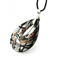 Black Lampwork Glass Teardrop Bead Pendant Necklace