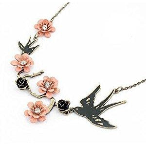 Swallow And Flowers Necklace