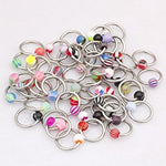 25 Assorted Surgical Steel Uv Ball Hoop Nose Rings