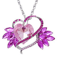 Pink Heart Inlay Rhinestone Necklace