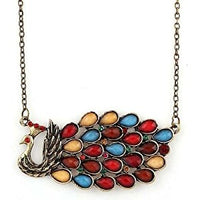 Vintage Retro Coloured Rhinestone Peacock Pendant Necklace
