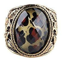 Vintage Retro Chunky Oval Shape Leopard Animal Print Rhinestone Ring