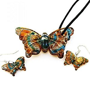 Butterfly Lampwork Glass Pendant Necklace And Earrings Set