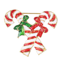 Christmas Double Cane Brooch