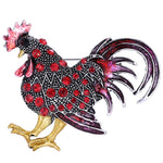 Red Cockerel Rooster Rhinestone Brooch