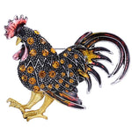 Yellow Cockerel Rooster Rhinestone Brooch