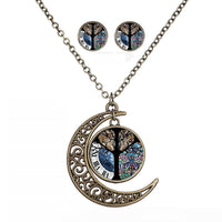 Moon Owl Time Stone Glass Cabochon Chain Pendant Necklace & Earrings Set