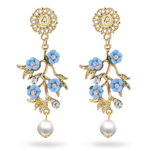 Blue Pearl Flowers Branch Dangle Earrings